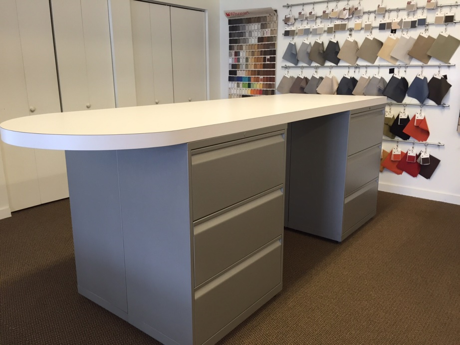 Standing Height Material Counter With Storage