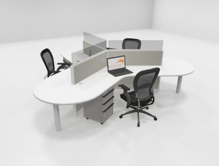 Knoll 120 Degree Workstations W Glass